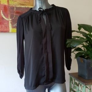 MEADOW RUE ANTHRO black ruffle tie blouse small